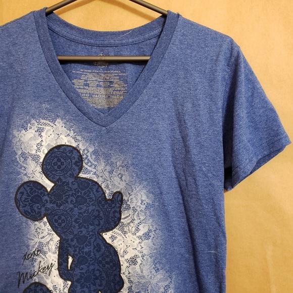 5298661012f Disney Tops | Store Mickey Silhouette Vneck Tee Large | Poshmark